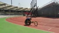 휠체어경주 연습II...